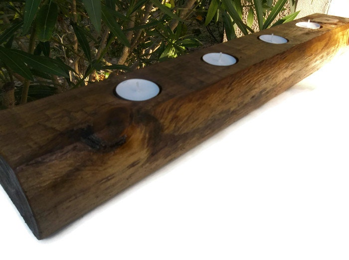 Rustic wood centerpiece candle holder tealight
