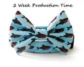 Nautical Bow Tie Dog Collar - Shark Attack!