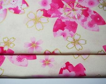 Japanese Fabric - Flower - Ivory