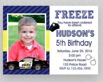 Police Birthday Invitation , Police Birthday Party Invitation Printable, Policeman Invitation, Police Car Birthday Invitation