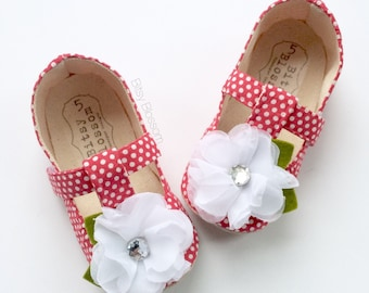 Toddler Girl Shoes, Baby Shoes, Infant Shoes, Soft Sole Shoes, Baby Girl Shoes, Polka Dot Shoes, Red Shoes, White Shoes, Floral Shoes- Calla