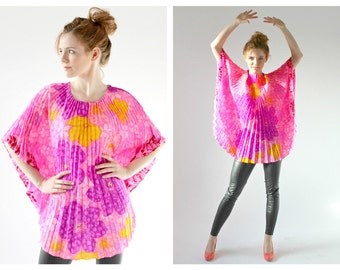 70s Neon Accordion Top- Flower Power Tent Shirt Blouse, Disco Psychedelic Poncho Cape Shirt LOT 2