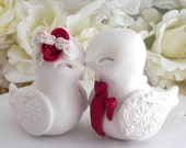 Love Birds Wedding Cake Topper, White and Red, Bride and Groom Keepsake, Fully Custom