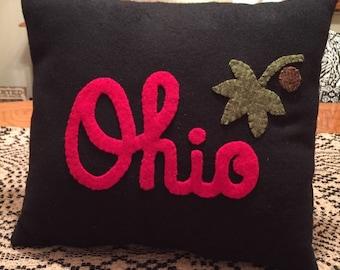 Ohio State Pillow, Appliqued Pillow, Dorm Decoration