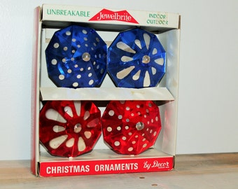 Set of Vintage Mid Century Modern Jewelbrite Unbreakable Christmas Ornaments by Decor