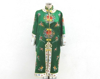 Mandarin Jacket Chinese Embroidered Satin Green Long Jacket Ladies Size S/M