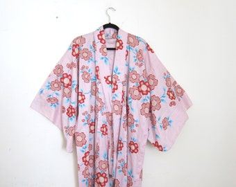 Japanese Cotton Kimono Long Pink and Red Flower Robe OSFM