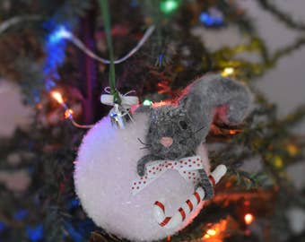 Needle Felted Christmas Squirrrel And Snowball Ornament!.......Free Shipping Too!
