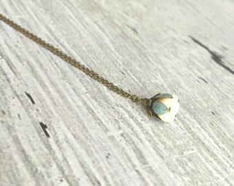 Little Flower Necklace - delicate boho blossom pendant in vanilla cream - mint aqua patina leaves - thin fine antique brass / bronze chain
