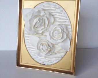 "8""/10"" Antique Framed Rose Trio Sculpture"