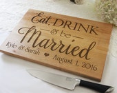 Eat Drink And Be Married Cutting Board, Personalized Engraved Cutting Board, Great Gift Idea