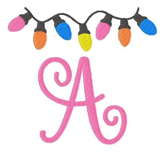 Christmas Lights Embroidery Font Designs 5x7 Monogram Set