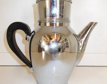 Vintage French Coffee Pot, Coffee Filter.  Chrome Coffee Pot, Bakelite Handle. Mid Century (1506)