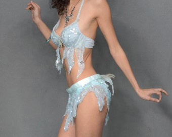 Light Blue Vintage Beaded Two Piece Bra Top And Belt Mini Skirt, Gypsy, Faery,Mermaid, Burlesque,Belly Dance, Carnival Costume, Lingerie