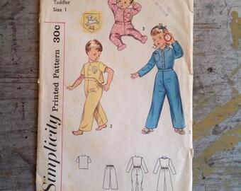 Vintage Simplicity Sewing Pattern 3377 Toddler Size 1 Pajamas