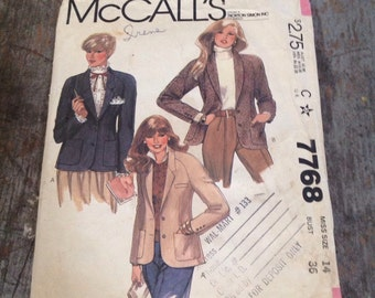 Vintage McCall's Sewing Pattern 7768 Misses' Size 14 Bust 36 Jacket