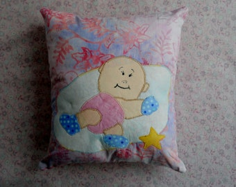 Pink and Blue Baby Pillow Baby in a Cloud