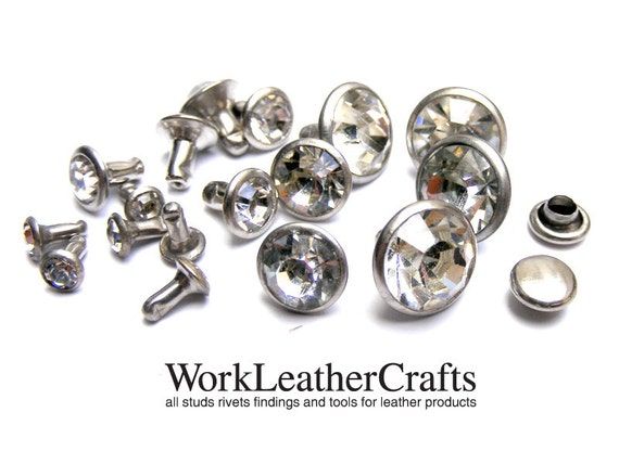 20sets GRADE A: Clear glasss Rhinestone Crystal Rapid Rivet Stud more chic gorgeous for bag, pusre and craft project