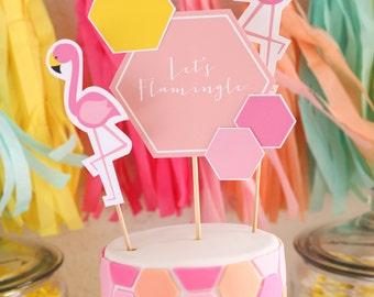 Let's Flamingle Theme Flamingo Party - Cake Topper - Petite Party Studio