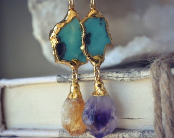 AMETHYST CITRINE and Turquoise Necklaces /// Electroformed Pendants, Crystals, Bohemian Jewelry