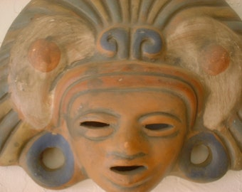 Handmade CLAY MASK Mayan Incan Wall Art