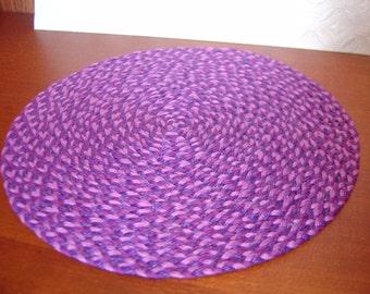Dollhouse three tone purple braided round rug 1:12 scale