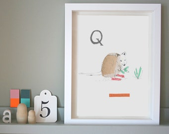 Quality Quokka, Animal Alphabet Gicleé print with Neon Tape