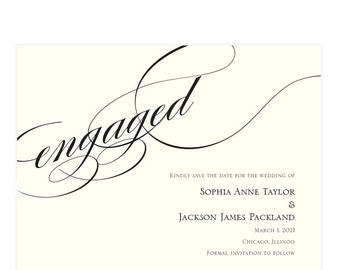 """Black and ivory save the date card, Burgues font, black script """"In Love""""; SAMPLE ONLY"""