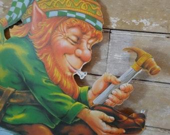 Vintage Leprechaun Die-cut Cutout St. Patrick Day