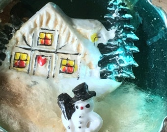 Vintage Shiny Brite Christmas Ornament Snowman Trees Cottage Snow