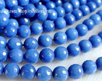 37 pcs Faceted Round beads, Full strand blue color jade, 10mm Round beads, Blue color beads.