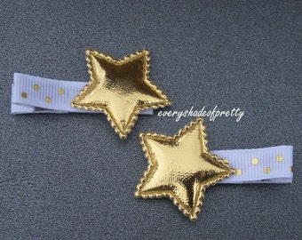 White and Gold Star Hair Clips-- Gold Star Clips--Girls Hairclips--Piggy Tail Clips--Star Clips