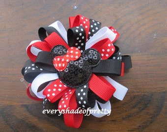 Red-White-Black Loopy Mickey Mouse inspired Bow, Polka Dot and Solid Bow, Girls Loopy Bow