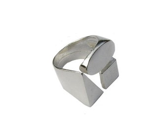 Valentine Day sale 20% Sterling Silver Geometric Ring Triangle Ring Square Ring Circle Ring. Geometric Jewelry 925