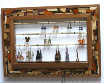 Jewelry Organizer - Wall Mounted Jewelry Holder - Wooden Wall Hung Earring Holder - Jewelry Display - Mosaic and Wood