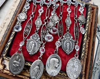 Chandelier Virgin Mary Assemblage Earrings, Celebrating Woman Rite, by RusticGypsyCreations