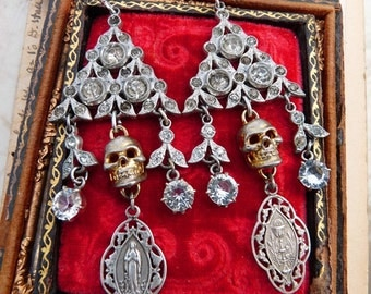 Antique Art Deco Skull Chandelier Earrings, Virgin Mary Talismans for the Passionate, by RusticGypsyCreations