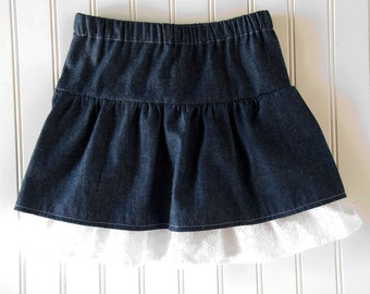 Double  Ruffle Skirt - Denim and Eyelet (Small)
