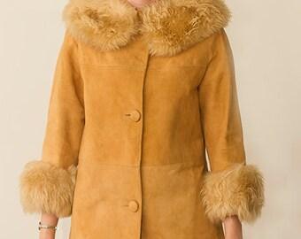 vintage 60s suede fur trimmed rockabilly swing princess coat