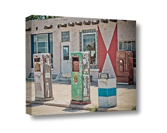 Small Canvas Wall Art Decor Midway Station Rt. 66 Adrian Texas Retro Gas Pumps
