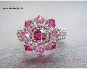 Beaded Ring PDF Pattern Instructions - Fuchsia Pink Flower Ring (RG074) - Beading Jewelry PDF Tutorial  (Instant Download)