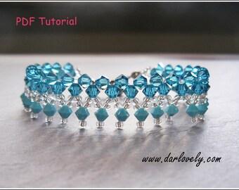 Beaded Bracelet Pattern - Blue Turquoise Bracelet (BB028) - Beading Jewelry PDF Tutorial (Digital Download)