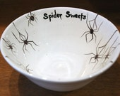 Spider Sweets Ceramic Hand Made Small Candy Dish Black Widows on White