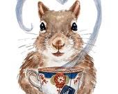 Squirrel Watercolor PRINT - 11x14 Watercolour Illustration, Teacup, Tea Lover, Kitchen Art, Cute Squirrel