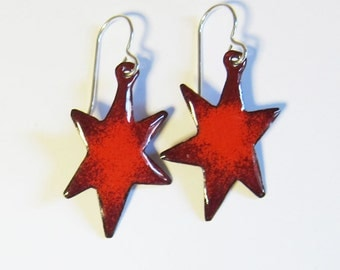 Red star dangle earrings Small enamel star earrings Bohemian celestial enamel jewelry