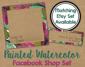 Facebook Timeline Set - Watercolor Shop Banner - Watercolor Timeline Cover - Profile Image - Watercolor Floral Facebook Shop Set