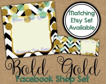 Facebook Timeline Set - Gold Glitter Shop Banner - Bold Gold Timeline Cover - Profile Image - Glitter Chevron Facebook Shop Set
