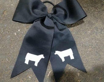 Black cheer spirit bow with elastic tie with white glitter show cattle