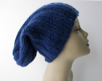 ICELANDIC WOOL Chunky Hand Knit Beanie Ski Hat in NAVY Blue / Lopi yarn Knit Slouch hat / fold up knit hat