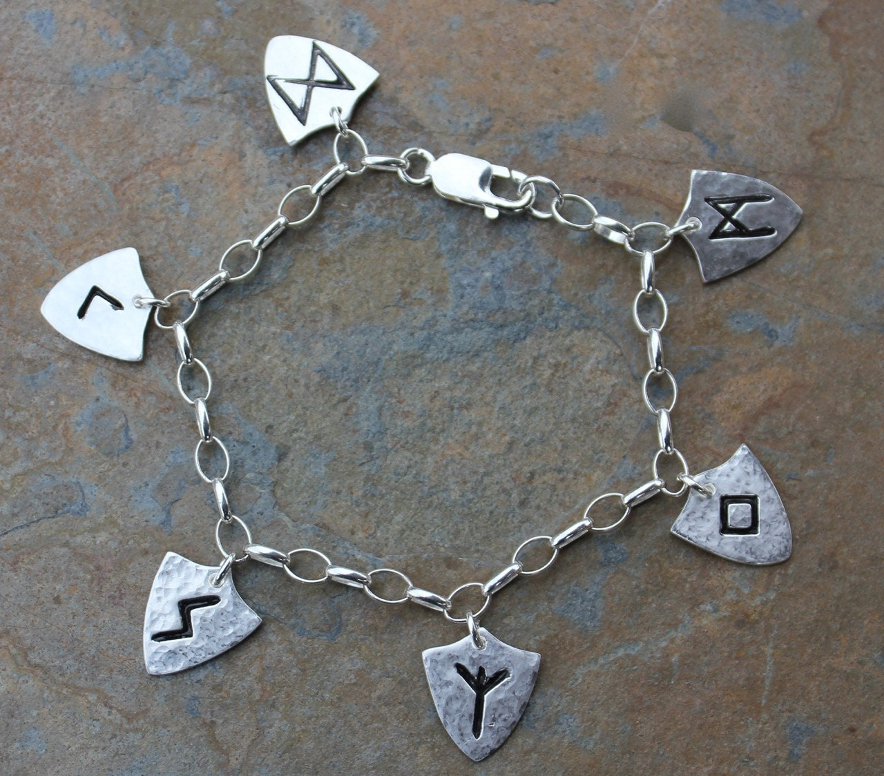 Rune shield anklet or plus size bracelet handmade fine for Plus size jewelry bracelets